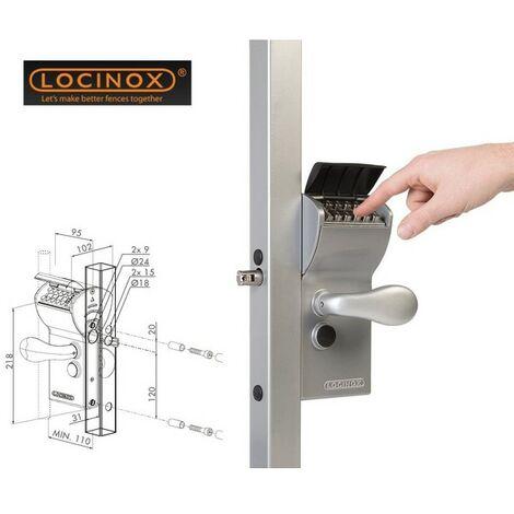Serrure à code mécanique, portail, profil carrée 30-50mm/ sortie libre LOCINOX - LFKQ3030X1L.