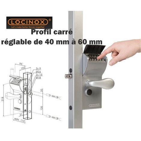 Serrure à code mécanique, portail, profil carrée 40-60mm/ sortie libre LOCINOX - LFKQ4040X1L.