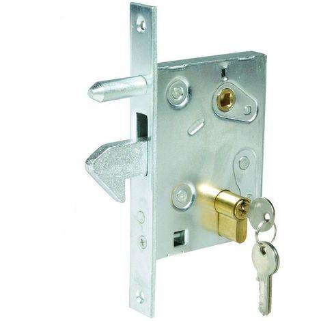 Serrure à crochet pour porte ou portail coulissantAxe du cylindre à 60mm de la têtière - Multicouleur