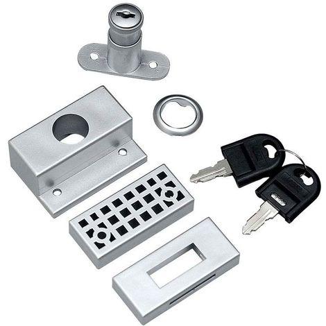 Serrure à cylindre pour porte coulissante - Pour porte d'épaisseur maxi : 35 mm - Version : Kit complet - Matériau : Zamack - LAGUNA - Vendu à l'unité