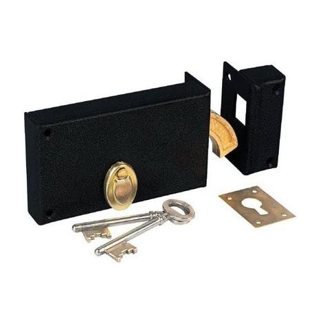 Serrure à gorge en applique noire à crochet - Axe à 78 mm - Série 376T - DOM