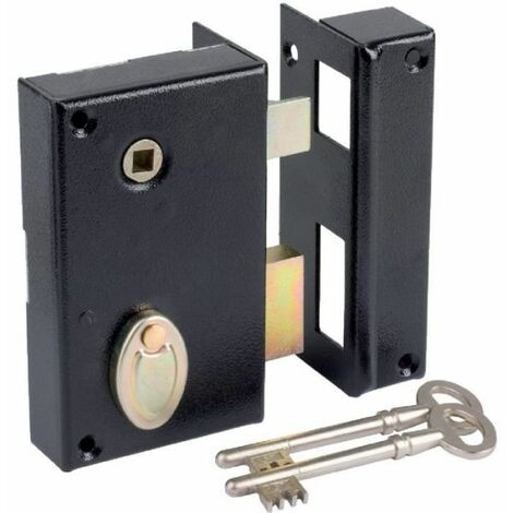 Serrure à gorge en applique noire à fouillot - Axe à 40 mm - Série 805 - DOM