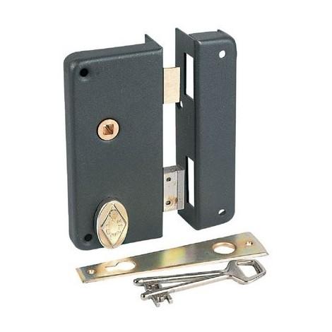 Serrure à gorge en applique noire à fouillot - Clé L - Axe à 40 mm - Extra-plate - JPM