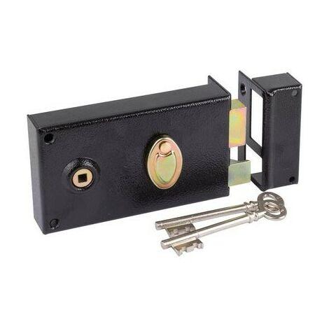 Serrure à gorge en applique noire à fouillot - Clé L - Axe à 52 mm - Série 730 - DOM