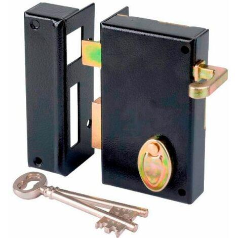 Serrure à gorge en applique noire à tirage - Axe à 45 mm - Série 802 - DOM