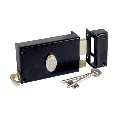 Serrure à gorge en applique noire à tirage - Axe à 70 mm - Série 729 - DOM