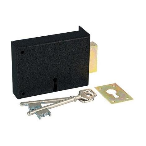 Serrure à gorge en applique noire simple - Clé L - Axe à 70 mm - Série 467 - DOM
