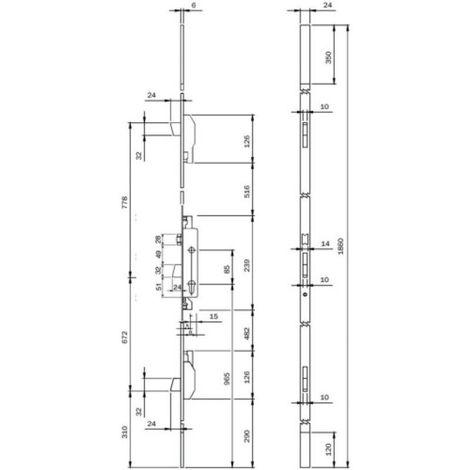 Serrure à larder 3 points à cylindre européen pêne dormant et rouleau tétiêre U de 24 x 6 x 1860 mm axe 30 Electa TF3