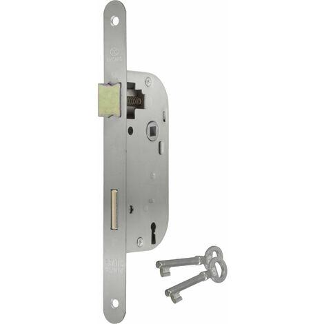 Serrure a larder a cle axe 40 mm electrozingue A encastrer reversible bouts ronds