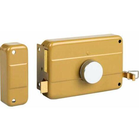Serrure applique horizontale à cylindre et bouton à tirage - Longueur 45 mm - Gauche - Thirard