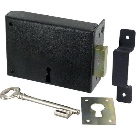 Serrure applique Horizontale a fouillot Ouverture a clé Droite Tirant Poussant Axe 80 mm