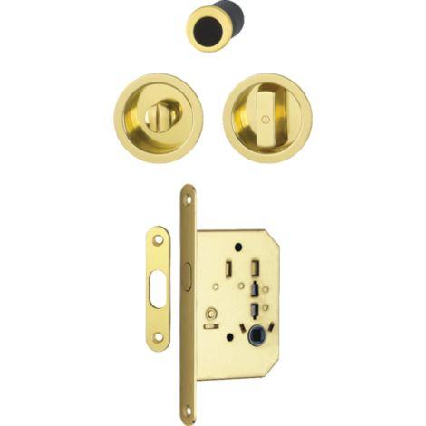 Serrure+cuvette+doigt 4920 WC HOPPE pour porte coulissante - doré brillant - 3948024