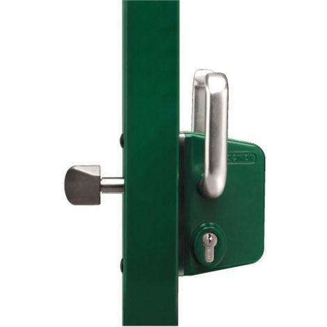 Serrure de portail coulissant à cylindre européen, axe 35 mm, profil 100, vert