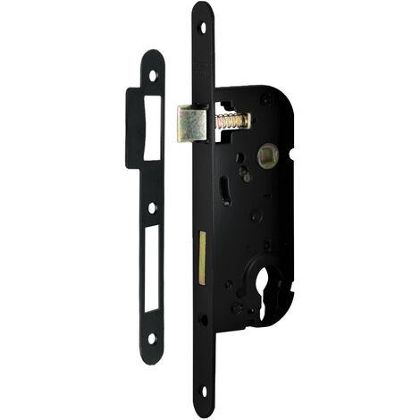 Serrure de porte à encastrer à cylindre axe 40 mm noir à larder réversible bouts ronds