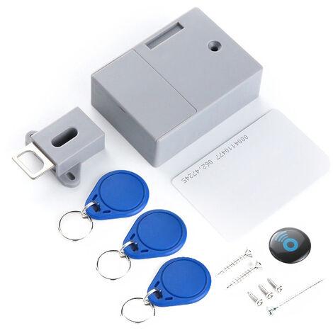Serrure de tiroir trou libre d'induction serrure invisible 1 carte 3 boucle (boucle bleue) (livree sans batterie)
