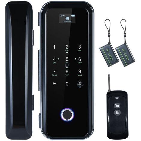 Serrure d'empreinte digitale de porte en verre intelligente avec 4 methodes de deverrouillage et navigation vocale JD-669 double crochet noir (livre sans batterie)