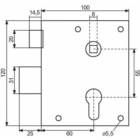 Serrure en applique à fouillot - Clé I - Axe à 60 mm - Série 7316 type alsace - Vachette