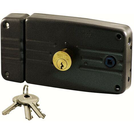 Serrure en applique à fouillot Horizontale City Tirant Gauche Noir 3 clés plates Cylindre porte entrée