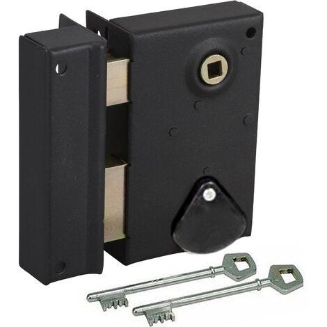 Serrure en applique à fouillot Verticale Ouvrant Gauche avec clés à gorges Axe 40 mm