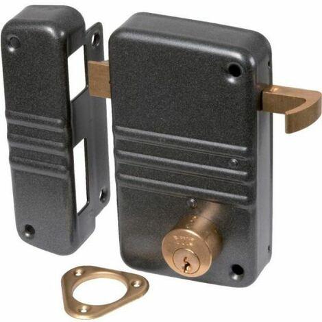 Serrure en applique gris anthracite à tirage - Clé I - Axe à 45 mm - City 5G - Iséo