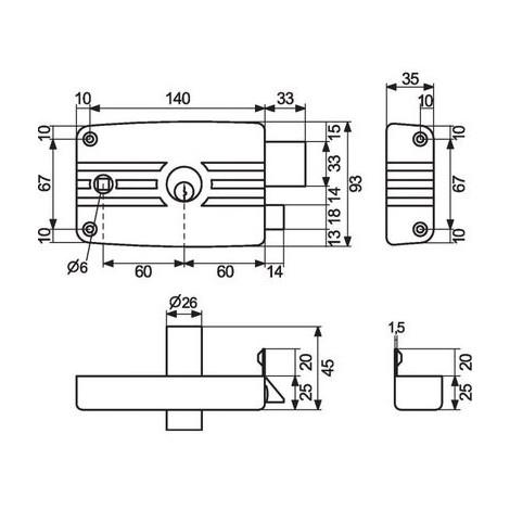 Serrure en applique grise à fouillot - Clé I - Axe à 60 mmCity 5G - Iséo