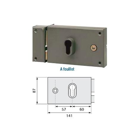 Serrure en applique horizontale à cylindre à fouillot Vachette 7416- plusieurs modèles disponibles