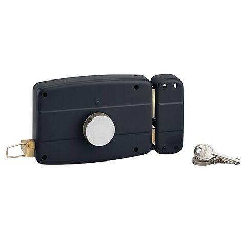 Serrure en applique horizontale à tirage et bouton pour porte de garage, cylindre Ø 25 dépassant de 32 mm 3 clés droite