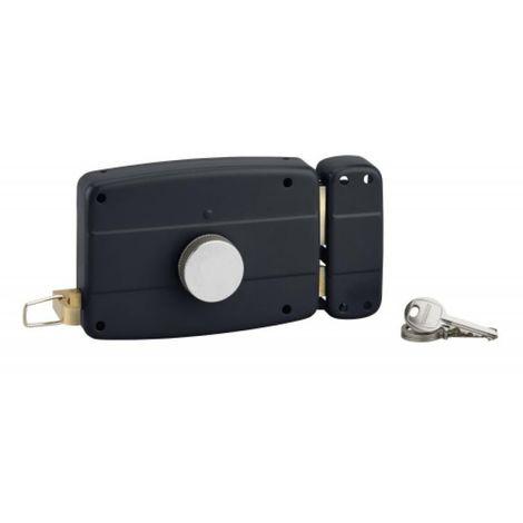 Serrure en applique horizontale à tirage et bouton pour porte de garage, cylindre Ø 25 dépassant de 32 mm 3 clés gauche
