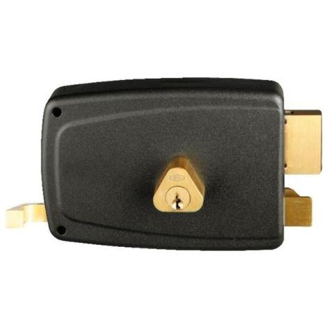 Serrure en applique horizontale à tirage - Pêne dormant et demi-tour - A cylindre rond - Match main droite