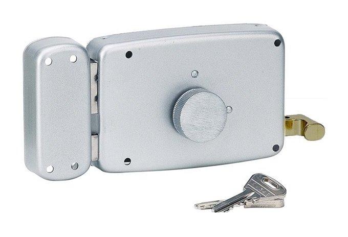 Serrure en applique horizontale porte garage ouverture gauche bouton