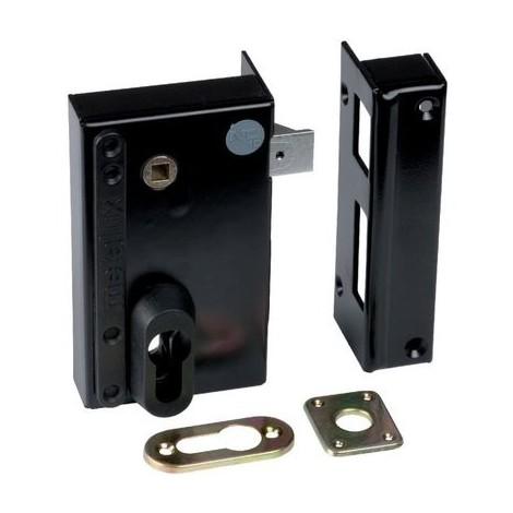 Serrure en applique noire à fouillot - Clé I - Axe à 45 mm - Série ND10 - DOM