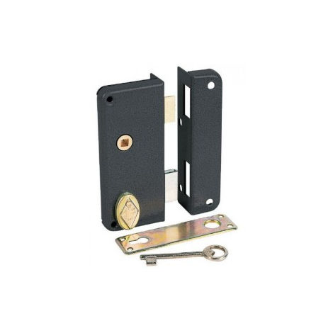 Serrure en applique noire à fouillot - Clé L - Axe à 40 mm - Extra-plate - JPM