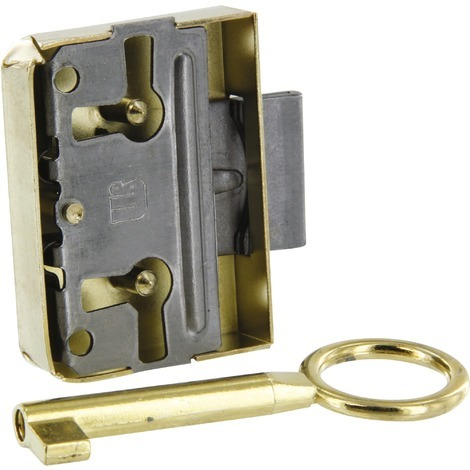 Serrure en applique réversible Strauss Vonderweidt - Fer laitonné - Longueur 39 mm - Axe 20 mm