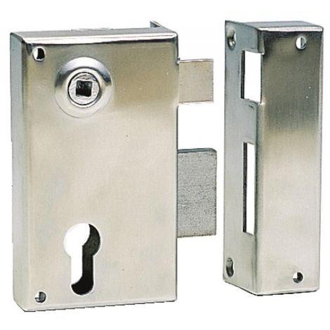 Serrure en applique verticale à fouillot inox - Pêne dormant et demi-tour - A cylindre européen - 729 main droite