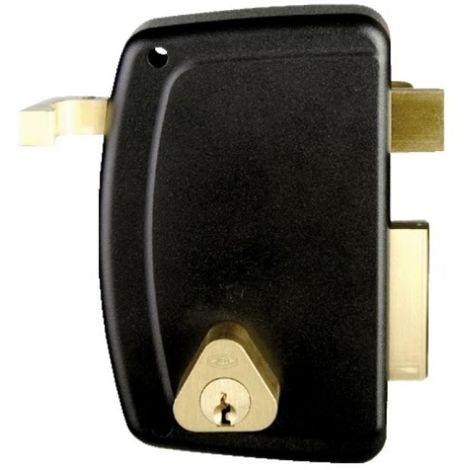Serrure en applique verticale à tirage - Pêne dormant et demi-tour - A cylindre rond - Match main gauche