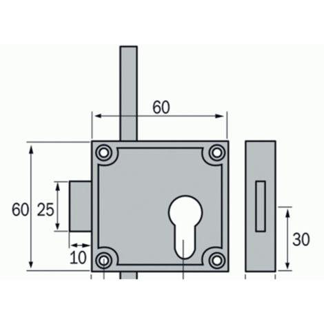 Serrure espagnolette 3 points 5464 nickelée VACHETTE pour 1/2 cylindre profil européen réversible - 12115000