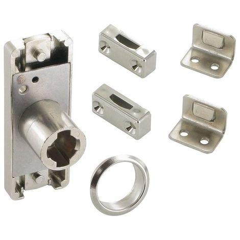Serrure haute et basse à cylindre - Décor : Nickelé - Sens : Droit - Barillet : Z23 - LEHMANN - Vendu à l'unité