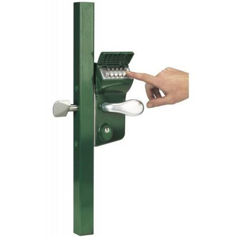 Serrure LLKZ40 pour portail coulissant à code mécanique vert 6005 profil de 40 mm