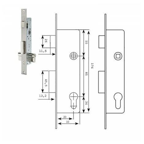 Serrure métallique à mortaise Pêne dormant et levier coulissant S / Lock 25X20Mm In