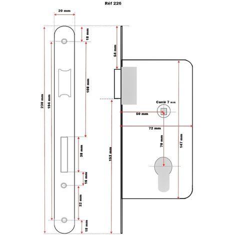 Serrure Monopoint Encastrée Noire Axe 50 mm Epaisseur 14 mm carré de 7 mm