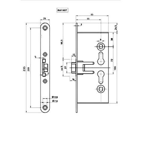 Serrure Monopoint KLOSE besser pour Porte Coupe Feu - 2 cylindres - 2 LANGUETTES .