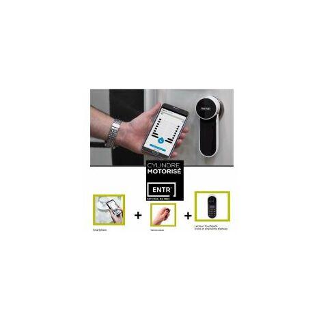 Serrure motorisée ENTR + lecteur d'empreinte, piloter votre porte d'entrée via votre Smartphone! FICHET - 98550020.