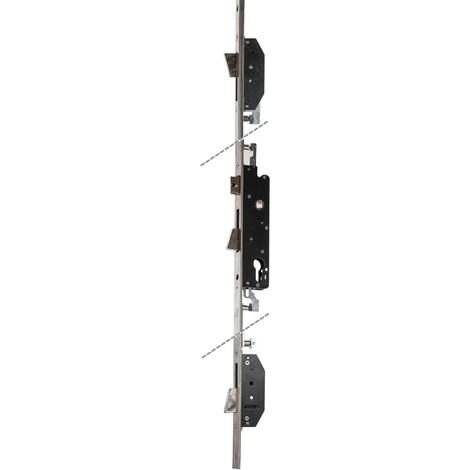 Serrure Multipoint encastrée 3 points à Larder/ aluminium - tête plate basculant