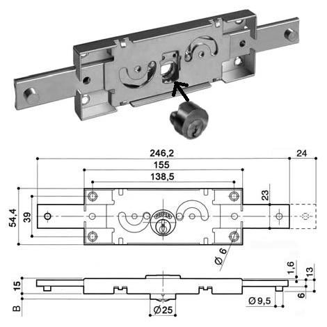 "main image of ""Serrure rideau métallique PREFER A211.0012"""