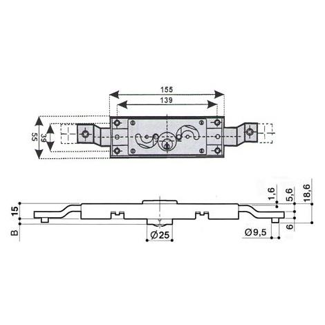 Serrure rideau PREFER A212 - plusieurs modèles disponibles