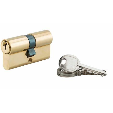 Serrurerie de Picardie - Cylindre de serrure à double entrée, 30x30mm, laiton, 3 clés