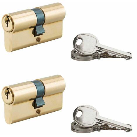 Serrurerie de Picardie - Lot de 2 cylindres de serrure à double entrée, 30x30mm, s'entrouvrant, laiton, 3 clés/cylindre