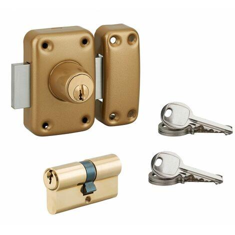 Serrurerie de Picardie - Lot verrou à double entrée cylindre Ø21x45mm or + cylindre double entrée 30x30mm, bronze, 6 clés
