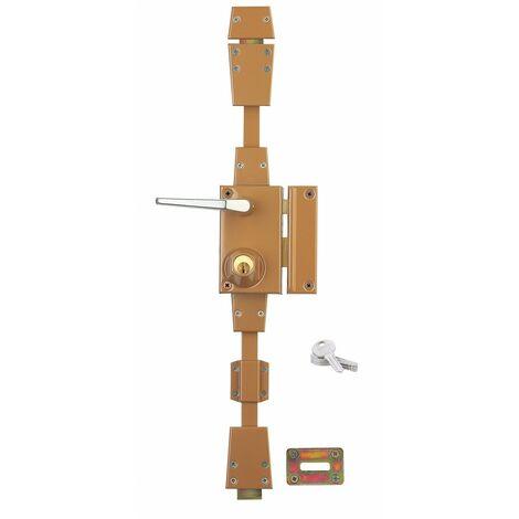 Serrurerie de Picardie - Serrure en applique à cylindre à fouillot pour porte d'entrée, 3 pts, droite, bronze, 4 clés