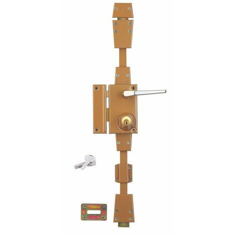 Serrurerie de Picardie - Serrure en applique à cylindre à fouillot pour porte d'entrée, 3 pts, gauche, bronze, 4 clés